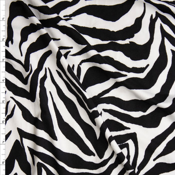 Black and White Zebra Print Double Brushed Poly Spandex Fabric By The Yard
