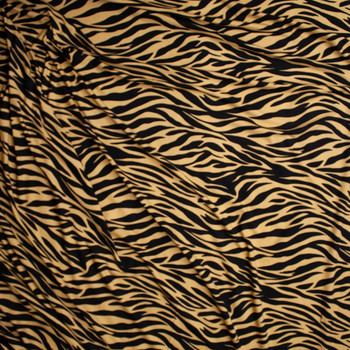 Tan and Black Tiger Print Double Brushed Poly Spandex Fabric By The Yard - Wide shot