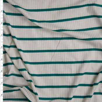 Teal on Offwhite Horizontal Pencil Stripe Stretch Rayon Ribbed Knit Fabric By The Yard