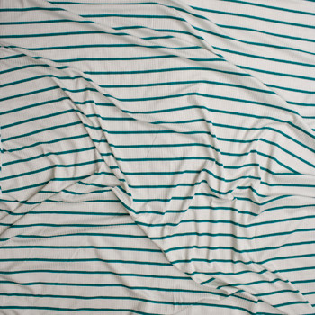 Teal on Offwhite Horizontal Pencil Stripe Stretch Rayon Ribbed Knit Fabric By The Yard - Wide shot