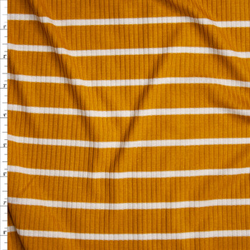 Offwhite on Mustard Horizontal Pencil Stripe Stretch Rayon Ribbed Knit Fabric By The Yard