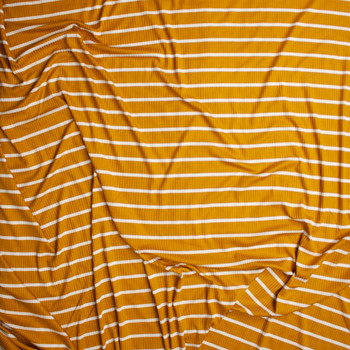 Offwhite on Mustard Horizontal Pencil Stripe Stretch Rayon Ribbed Knit Fabric By The Yard - Wide shot