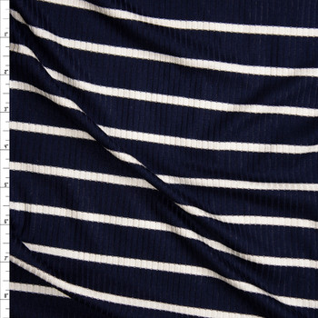 White on Navy Horizontal Pencil Stripe Stretch Rayon Ribbed Knit Fabric By The Yard