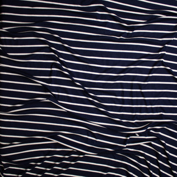 White on Navy Horizontal Pencil Stripe Stretch Rayon Ribbed Knit Fabric By The Yard - Wide shot