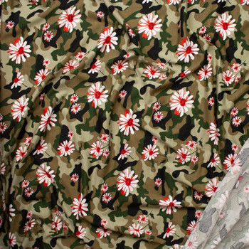 Red and White Daisies on Classic Olive Camouflage Poly/Rayon French Terry Fabric By The Yard - Wide shot