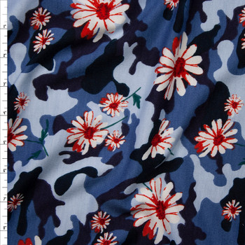 Red and White Daisies on Classic Blue Camouflage Poly/Rayon French Terry Fabric By The Yard