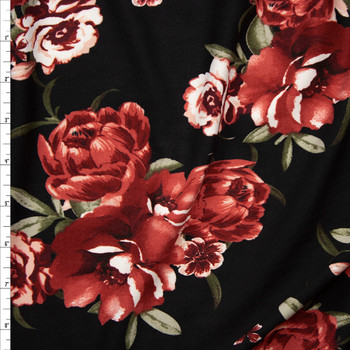 4f85b4fdfd1 Brick Red and Sage Rose Floral on Black Double Brushed Poly Spandex Knit  Fabric By The ...