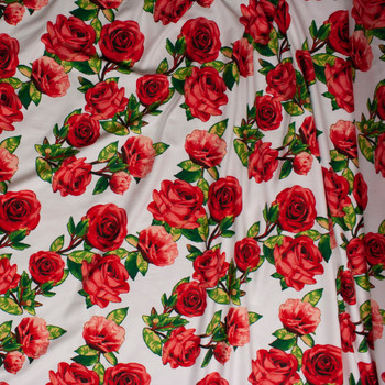 Red Roses with Green Leaves on Offwhite Double Brushed Poly Spandex Knit Fabric By The Yard - Wide shot