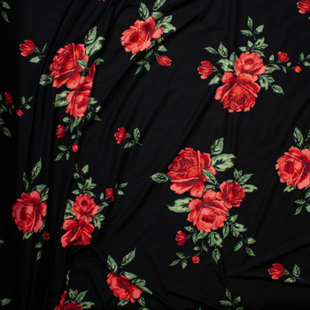 2ddf27b1cf5 ... Red Rose Floral on Black Double Brushed Poly Spandex Knit Fabric By The  Yard - Wide