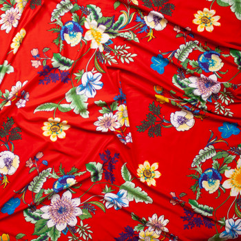 Summer Floral on Bright Red Double Brushed Poly Spandex Knit Fabric By The Yard - Wide shot