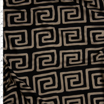 Tan on Black Roman Curled Stripe Double Brushed Poly Spandex Knit Fabric By The Yard