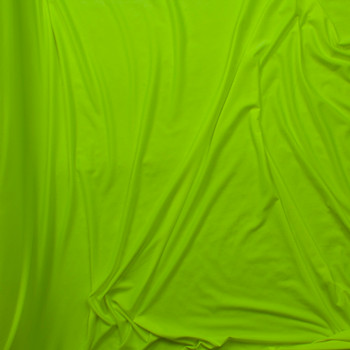 Neon Yellow Double Brushed Poly Spandex Knit Fabric By The Yard - Wide shot
