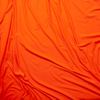 Neon Orange Double Brushed Poly Spandex Knit Fabric By The Yard - Wide shot