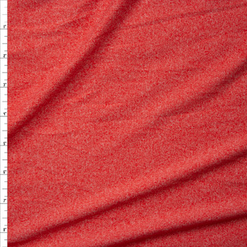 Orange Heather Double Brushed Poly Spandex Knit Fabric By The Yard