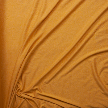 Mustard Heather Double Brushed Poly Spandex Knit Fabric By The Yard - Wide shot