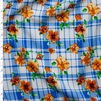 Orange and Yellow Flowers on Blue and White Plaid Rayon Challis Fabric By The Yard