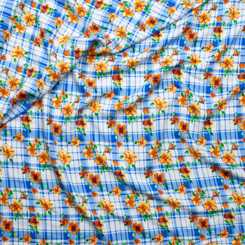 Orange and Yellow Flowers on Blue and White Plaid Rayon Challis Fabric By The Yard - Wide shot