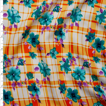 Teal and Purple Floral on Orange and White Plaid Rayon Challis Fabric By The Yard