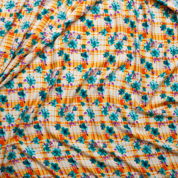 Teal and Purple Floral on Orange and White Plaid Rayon Challis Fabric By The Yard - Wide shot