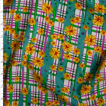 Yellow Daisies on Green, Pink, and Teal Plaid Rayon Challis Fabric By The Yard