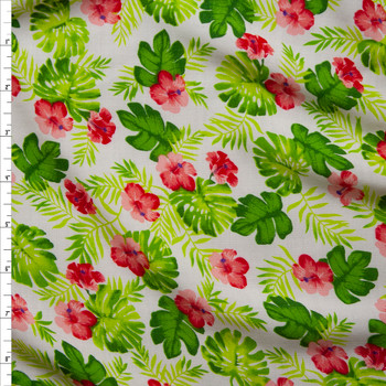 Green Fronds and Pink Hibiscus on White Rayon Challis Fabric By The Yard