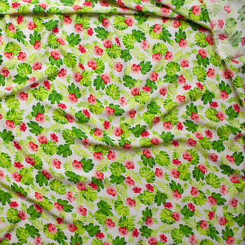 Green Fronds and Pink Hibiscus on White Rayon Challis Fabric By The Yard - Wide shot