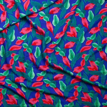Hot Pink, Seafoam, and Mint Leaves on Royal Blue Rayon Challis Fabric By The Yard - Wide shot