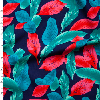Hot Pink, Teal, and Seafoam Leaves on Navy Blue Rayon Challis Fabric By The Yard