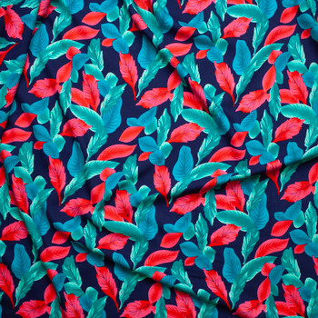 Hot Pink, Teal, and Seafoam Leaves on Navy Blue Rayon Challis Fabric By The Yard - Wide shot