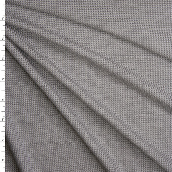 Light Grey Heather Stretch Micro Waffle Knit Fabric By The Yard
