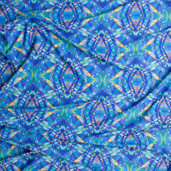 Blue and Yellow Stained Glass Kaleidoscope Nylon/Spandex Fabric By The Yard - Wide shot