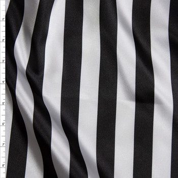 "Black and White 1"" Vertical Stripes Lightweight Satin Print Fabric By The Yard"
