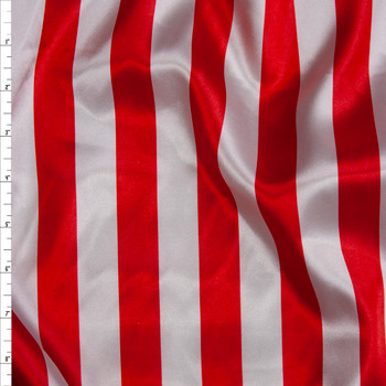 "Red and White 1"" Vertical Stripe Lightweight Satin Print Fabric By The Yard"