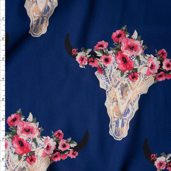 Ivory Lacey Cow Skulls with Pink Rose Crowns on Navy Blue Georgette Fabric By The Yard
