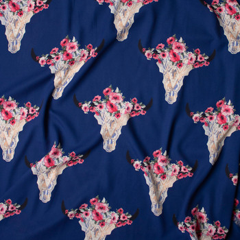 Ivory Lacey Cow Skulls with Pink Rose Crowns on Navy Blue Georgette Fabric By The Yard - Wide shot