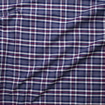 Blue, White, and Red Plaid Fine Cotton Shirting Fabric By The Yard - Wide shot