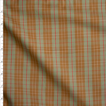Sage, Tan, and Red Plaid Fine Cotton Shirting Fabric By The Yard