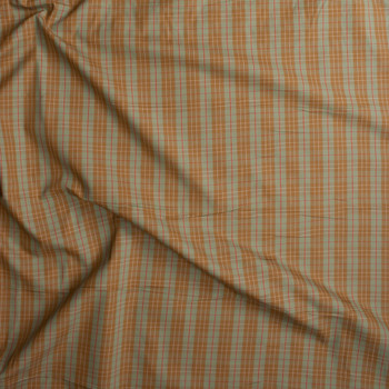 Sage, Tan, and Red Plaid Fine Cotton Shirting Fabric By The Yard - Wide shot