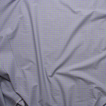 Light Blue, Lime, and Red Plaid Fine Cotton Shirting Fabric By The Yard - Wide shot