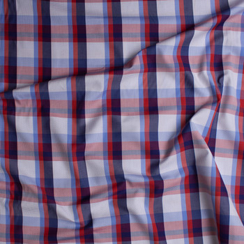 Red, White, and Blue Plaid Fine Cotton Shirting with Embroidered Navy Dots Fabric By The Yard - Wide shot