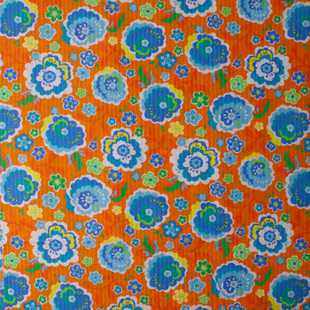 Blue, Yellow, and Lime Flowers on Orange 'Tutti Frutti' Plissé Fabric By The Yard - Wide shot