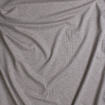 Heather Grey Midweight Cotton French Terry Fabric By The Yard - Wide shot