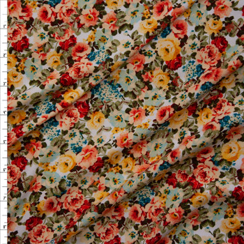 Orange, Aqua, Ivory, and Yellow Garden Floral Double Brushed Poly/Spandex Knit Fabric By The Yard