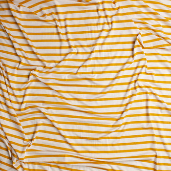cc3882fb94c ... Mustard on Offwhite Pencil Stripe Stretch Modal Jersey Knit Fabric By  The Yard - Wide shot