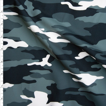 Black, White, and Grey Camouflage Print Stretch Supplex/Spandex  Fabric By The Yard