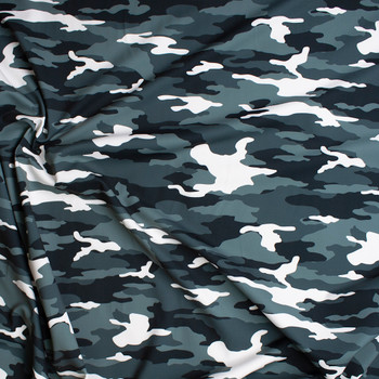 Black, White, and Grey Camouflage Print Stretch Supplex/Spandex  Fabric By The Yard - Wide shot