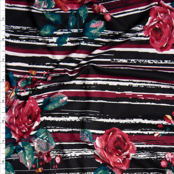 Pink and Green Rose Floral on Wine, Black, and White Grunge Stripes Double Brushed Poly Spandex Knit Fabric By The Yard