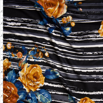 Yellow and Teal Rose Floral on Grey, Black, and White Grunge Stripes Double Brushed Poly Spandex Knit Fabric By The Yard