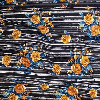 Yellow and Teal Rose Floral on Grey, Black, and White Grunge Stripes Double Brushed Poly Spandex Knit Fabric By The Yard - Wide shot