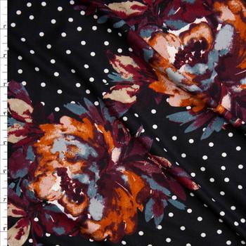 64f561b3069 Grey, Wine, and Rust Paint Daub Floral on White on Black Polka Dot Print ...